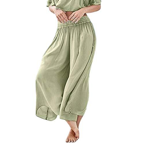 Damen Hosen Kolylong Frauen Lang Weites Bein 7/8 Länge Leichte Strandhose Sommerhose Gummibund Freizeithose mit Taschen Einfarbig Lose Hohe Taille Yoga Hose Jogginghose