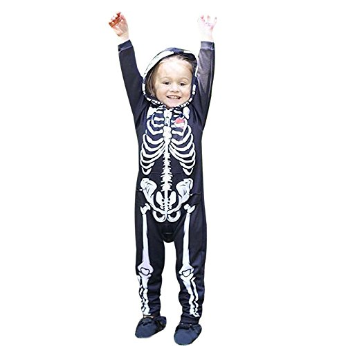 Kapuzen-Terror Reaper - Halloween-Kostüm - Kinder Kostüm Schädel Strampler Overalls Mit Kapuze Halloween Kostüm Verkleidung Karneval Party von Innerternet