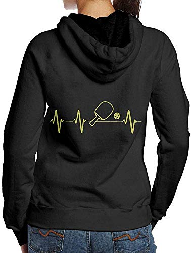 LMNcrop Pickleball Paddle And Ball Heartbeat Adult Women s Autumn Sweater Hoodie