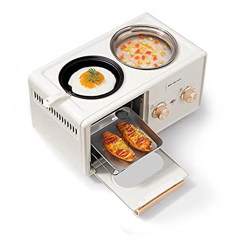 QULONG Mini Horno eléctrico máquina de Desayuno Cuatro en uno, Horno de Mesa 1350 6L Ajuste de Temperatura 30-230 ℃ Horno Tostador multifunción, tostadora automática pequeña para el hogar, Tostador