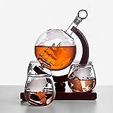 happygirr Caraffa per Whisky Globo da 1000 ml con veliero Interno e 4 Bicchieri per Whisky...
