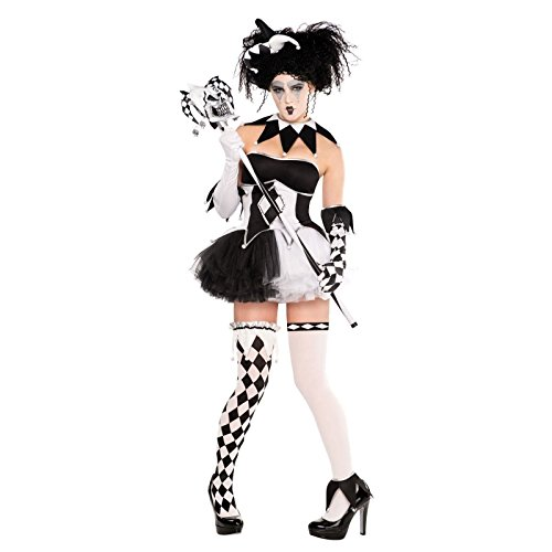 Tricksterina Arlequin miel Baddy Quinzel de Batman Costume 9 Peices Taille 42–44)-Noir et Blanc-Bas Sexy avec Corset et Tutu