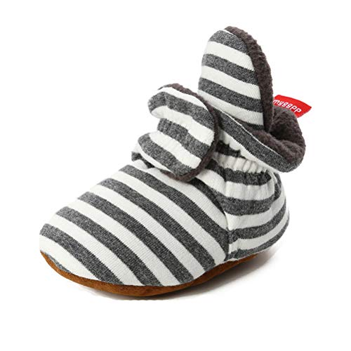 TMEOG Unisex-Baby Neugeborenes Fleece Booties Bio Baumwoll-Futter und rutschfeste Greifer Winterschuhe (0-6 Monate, B_Schwarz/Weiß)