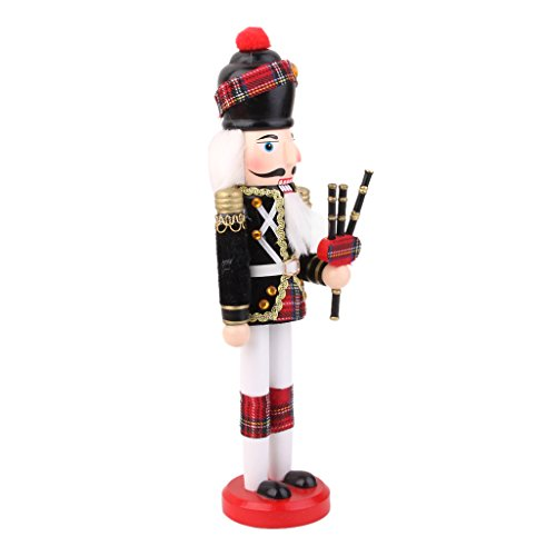 IPOTCH 11.8 inch Nutcracker Ornaments, Wood Soldier Figurine Hold Bagpipe Decorations for Christmas Puppet Toy