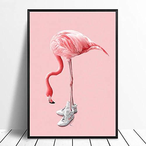 Rosado Flamenco con Zapatillas De Deporte Imágenes Arte Abstracto De La Pared Pintura De La Lienzo Poster Baratos Impresiones Cuadros para Sala Decoración del Dormitorio B2 50x70cm Sin Marco