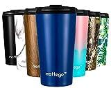 mottego (モッテゴー) 真空断熱 ステンレス タンブラー ふた付き 保温保冷 マグ ボトル (ネイビー, 350ml)