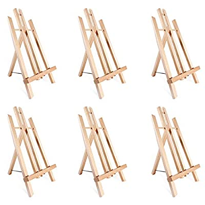 """14"""" A-Frame Painting Easels 6-Pack, Ohuhu 14 Inches Tall Display Stand Tabletop Art Easel Set Mini Wood Painting Easels for Kids Children Artist Student Classroom Table Top Display, Back To School Art"""