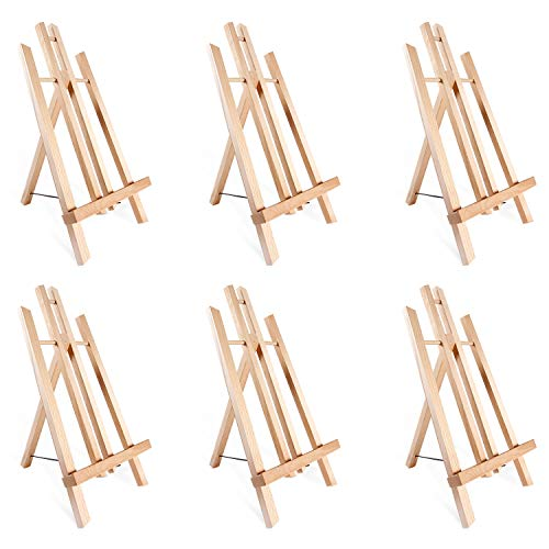 "14"" A-Frame Painting Easels 6-Pack, Ohuhu 14 Inches Tall Display Stand Tabletop Art Easel Set Mini Wood Painting Easels for Kids Children Artist Student Classroom Table Top Display, Back To School Art"
