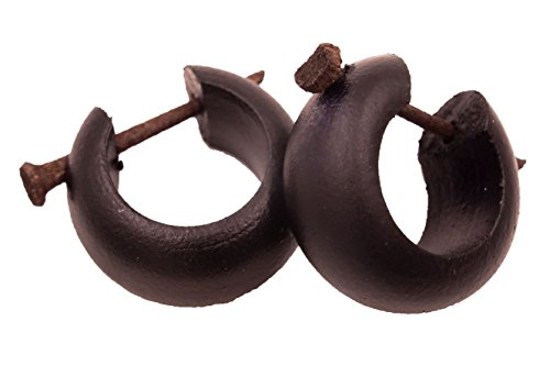 Orecchini creoli in legno di colore nero, piercing, finto dilatatore