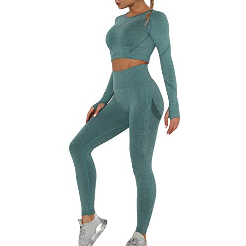 Damen Sportanzug Trainingsanzug Jogginganzug Sport Sets Mode 2-teiliges Set Sport Sets Hosen und Sport Crop Top 2 Stücke Bekleidungssets Yoga Outfit Sportanzug Gym Set(A-Green,M)