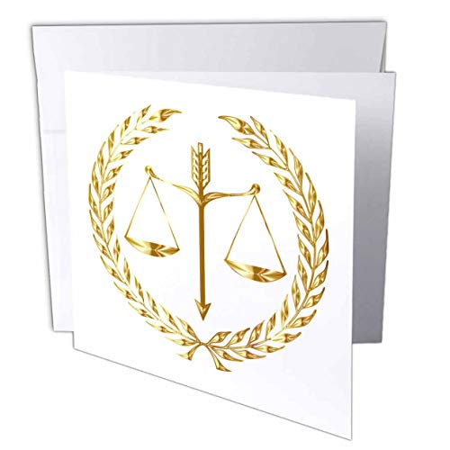 3dRose Image of Scales of Justice in Shiny Gold - Greeting Card, 6 by 6-inch (gc_291051_5)