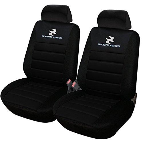 eSituro SCSC0066 2er Einzelsitzbezug universal Sitzbezüge für Auto Schonbezug Schoner Dicke gepolstert schwarz