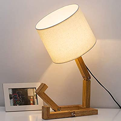 Modern Desk Lamps, DIY Humanoid Robot Variable Bedside Table Lamps with White Fabric Shade, Nightstand Wood Lights to Home Decor for Bedroom, Living Room, Study (Without Bulb)