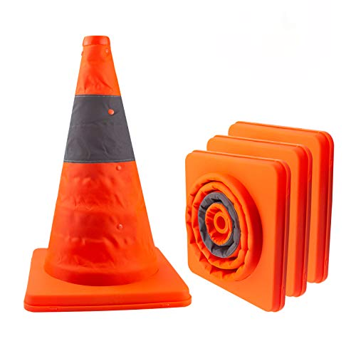 LAVAED 4 Pack Collapsible Traffic Cones, Orange Safety Reflective Parking Cone, Pop up Caution Construction Barrier
