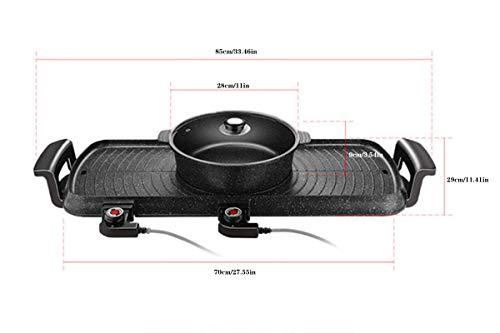 EnweLampi Innen Grillen & Barbecue, Multifunktion BBQ Grill und Hot Pot 2 in 1, Antihaft Bratpfanne leicht zu reinigen, schnelle Heizung Backform,mit großer Kapazität und 5 Temperatureinstellungen
