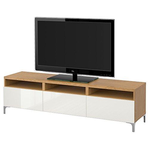 IKEA BESTA - Banc TV avec tiroirs effet Chêne / Selsviken haute brillance / blanc