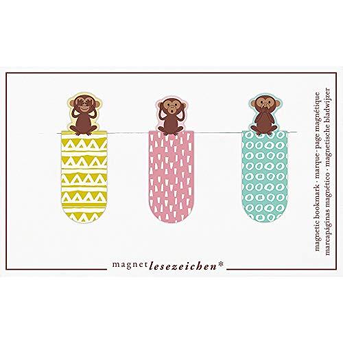 Magnetlesezeichen Drei Affen 3er Set | Magnetisches Lesezeichen | Charmant Illustriert