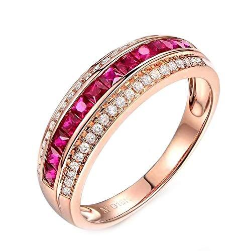 Cenliva Diamond Ring, 18K Gold 0.86ct Diamond Accented Ruby with Diamond VVS2-VS1 Ring Size R 1/2