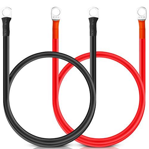 Bolatus 2 Stück Batteriekabel 50cm, Batterie-Kabel 12V Kupferkabel Kupfer Stromkabel mit Ringösen Autobatterie Kabel KFZ Kabel für bspw. Versorgungsbatterien und Traktionsbatterien(rot und schwarz