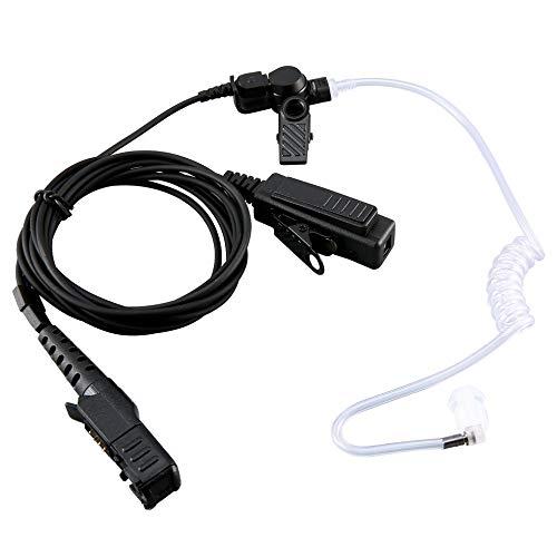 QiKun-Home Micrófono de Auriculares PTT con Tubo de Aire de vigilancia Duradero para Motorola DP2400 XiR P6620 Radio bidireccional Walkie Talkie Negro