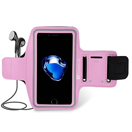 iPhone 7 Best Running Sports Workout Pink Waterproof Armband Touch Screen Key Holder Plus Headphones