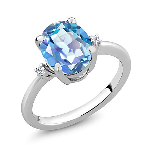 Gem Stone King 925 Sterling Silver Millennium Blue Mystic Topaz Women's Engagement Ring Jewelry 2.52 Cttw (Size 6)