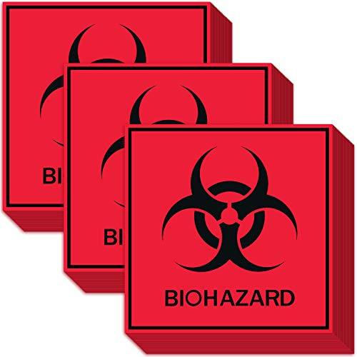 30 PCS Biohazard Stickers Signs 5.5' x 5.5' Biohazard Warning Label Hazardous Materials Caution Decal Self Adhesive Vinyl Red Biohazard Sign Tape Set for Transport Labs Industrial Use and Hospitals