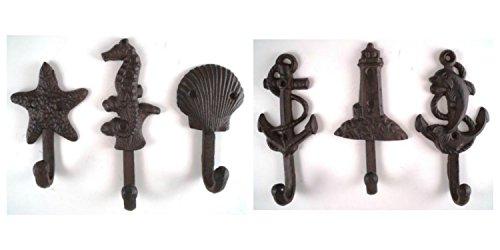 Lighthouse Dolphin Anchor Starfish Seahorse Shell Cast Iron Nautical Hooks Set