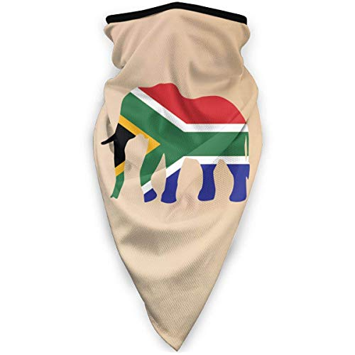 brandless Elephant South Africa Flag Outdoor Face Mouth Mask Windproof Sports Mask Ski Mask Shield Scarf Bandana for Unisex