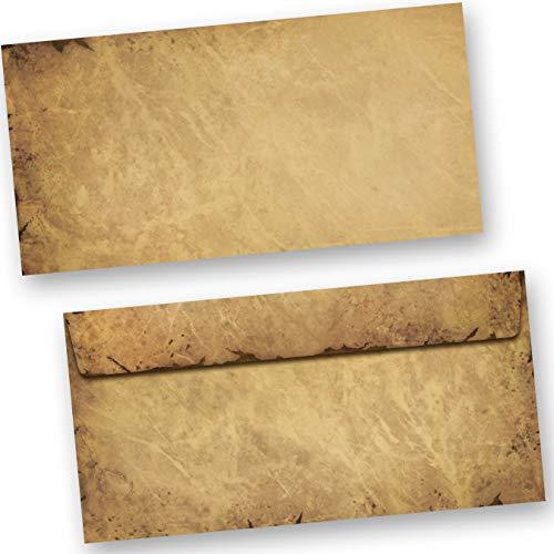 Briefumschläge alt Vintage 50 Stück DIN lang Umschlag Mittelalter antik haftklebend ohne Fenster
