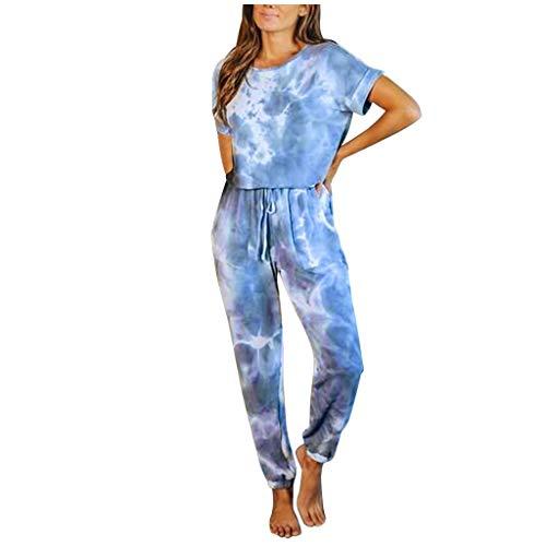 Monos para mujer con teñido anudado, conjunto de manga corta, cuello redondo, cintura alta, cintura con cordón, dos bolsillos laterales, ropa informal
