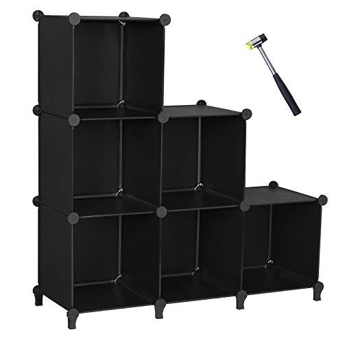 ANWBROAD Organizzatore a 6 cubi per armadio modulare fai da te, libreria, armadietto, libreria, armadietto, libreria, armadietto, in plastica, per camera da letto, ufficio, soggiorno, ecc LCS006B