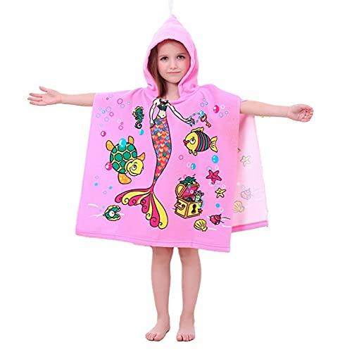 Nuvx Toalla de playa para niños de natación con capucha Toalla de poncho Toalla de microfibra suave de dibujos animados con capucha Albornoz de secado rápido Toalla de natación de playa Rosa sirena
