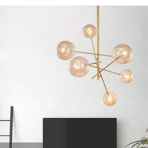 DKee Lámpallas Lámpara De Sala Simple Nordic Creative Garden Restaurant Bola De Cristal De Hierro Forjado Lámpara De Frijol Mágico
