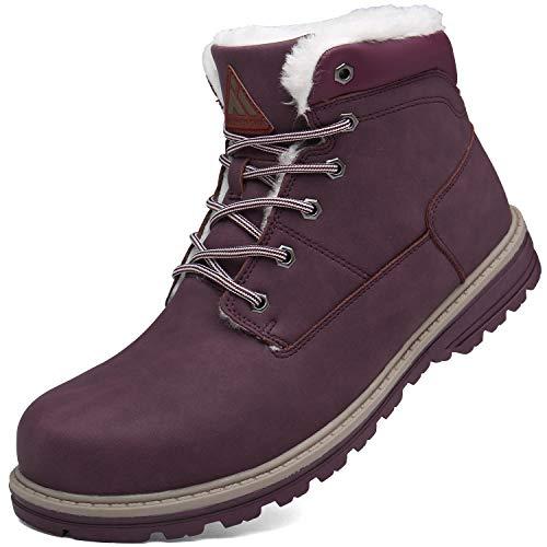 Mishansha Invierno Botas para Mujer Antideslizante Resistente al Desgaste Botines Calientes Forro de Piel Cortas Tobillo Plano Boots Impermeables Cordones Zapatos, Rojo 42 (Ropa)