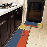Juego de 2 alfombras de cocina y alfombrilla, azul, rojo, amarillo, crema, antideslizante, suave, absorbente, para cocina, piso, baño, fregadero, lavandería, oficina