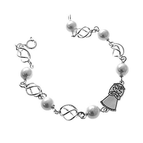 Pulsera plata Ley 925m primera comunión 16.5cm. motivo niña perlas jaulas cierre reasa [AC1269]