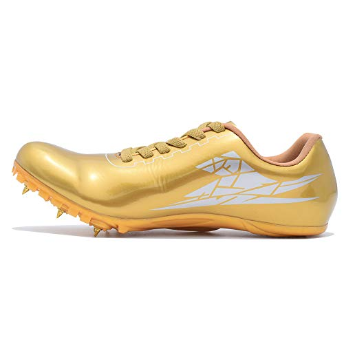 Thestron Track Shoes Spikes Mens Womens Distance Running Sneakers Athletic Sprinting Track and Field Racing Shoes with Spikes Boys Girls … Gold