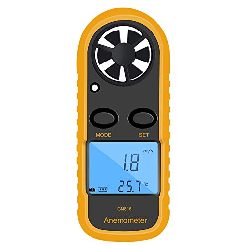 Qotone GM816 Digital Anemometer Wind-Speed Gauge Meter LCD Handheld Airflow Windmeter Thermometer