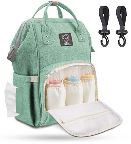 Wickelrucksack Baby Wickeltasche Groß mit Kinderwagenhaken, Multifunktionale Babytasche mit Großer Kapazität für Unterwegs, viele Fächer, Wasserabweisend, Mint