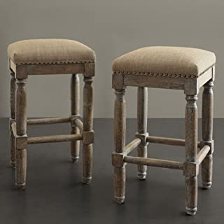 These Rustic Distressed Renate Linen Backless Counter Bar Stools Add Extra Seating with Style to Your Kitchen or Dining or Room. A Great Vintage Addition to Any Room in the House, This Set Is Constructed of Solid Wood with a Handcrafted Reclaimed Wood Finish.