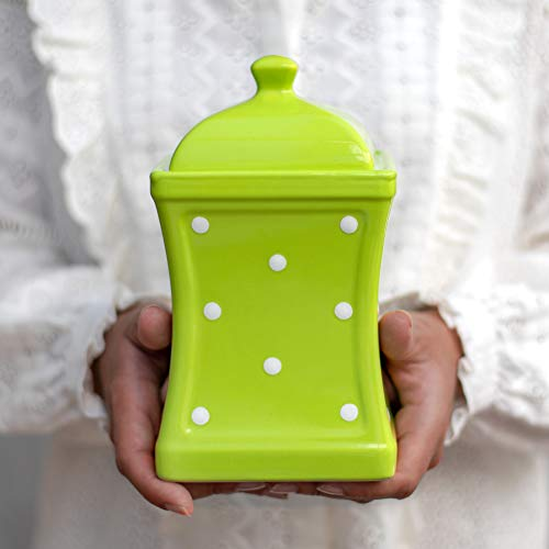Handmade Lime Green and White Polka Dot Large Ceramic 31.5oz/900ml Kitchen Storage Jar with Lid | Pottery Canister, Cookie Jar, Housewarming Gift by City to Cottage