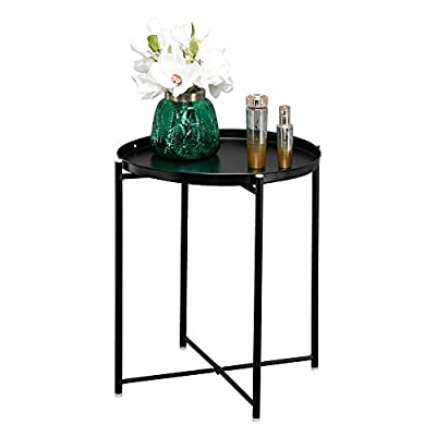 Metal End Table,Round Metal Countertop and Cros...