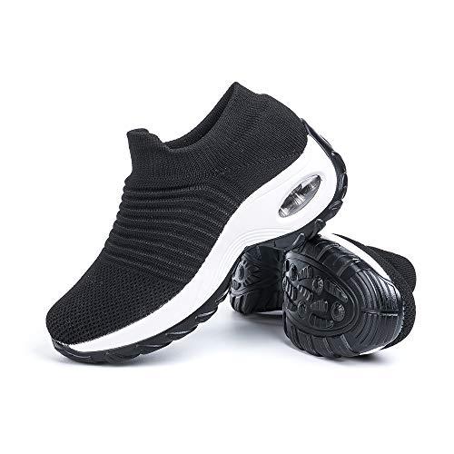 Scarpe Ginnastica Donna Sneakers Running Camminata Corsa Basse Tennis Air Traspiranti Sportive Gym Fitness Casual Comode Nero-Bianco Taglia 38
