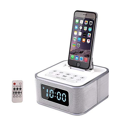 LIGHTOP Drahtloser Bluetooth Lautsprecher Doppelter Wecker Docking Station UKW-Radio Freisprechen Mit Fernbedienung Ladestation Lightning für iPhoneX/8/8 Plus/7 plus/7/6s/6/6/plus/5S/5c