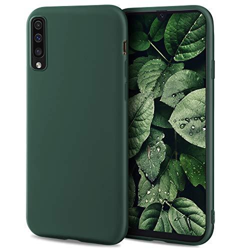 Moozy Minimalist Series Funda Silicona para Samsung A50, Verde Oscuro con Acabado Mate, Cover Carcasa de TPU Suave y Fina