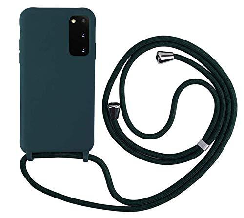 MEVIS Cover Compatible con Samsung Galaxy S20 Plus,Cover con Pratico Cordino,con Cordino TPU Corda Silicone Case Bumpe-Verde Scuro