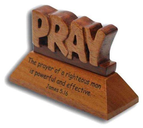 Beten Christian hout mahonie James 05:16 is een bureaucadeau van de woorden op het element in het Engels
