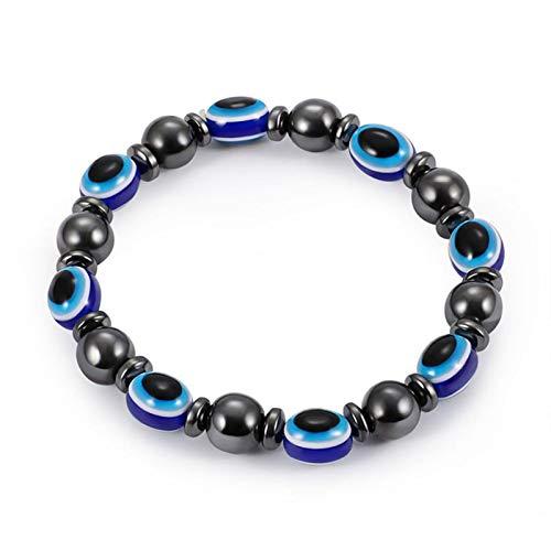 BDLeKing - Pulsera extensible de hematita magnética, color azul, mala ojo y buena suerte, 1 unidad