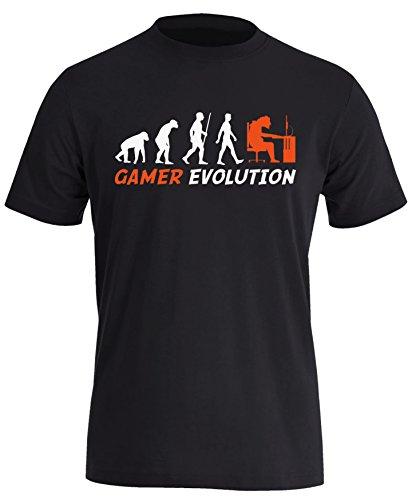 Gamer Evolution - Evolution Computer, Playstation Xbox Spieler Zocker - Herren Rundhals T-Shirt